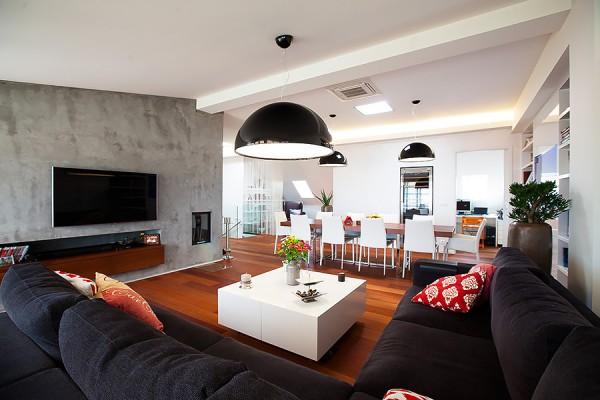 Realizace půdního bytu - obývací pokoj