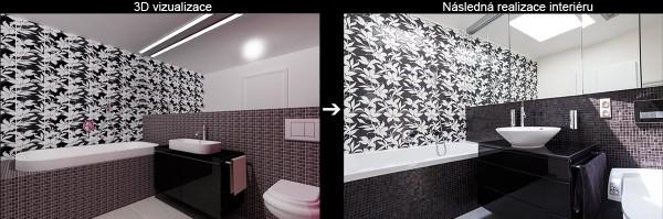 Vizualizace a realizace koupelny půdního bytu