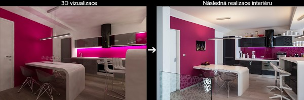 Vizualizace a realizace kuchyně půdního bytu