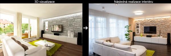 Vizualizace a realizace obývacího pokoje půdního bytu