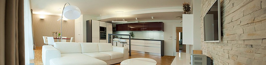 Obývací část půdního bytu